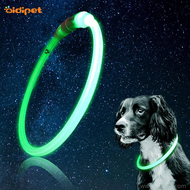 Nylon LED sytyttää koiran kauluksen Putkimainen lemmikkikaulakoru leikkaamalla vapaasti
