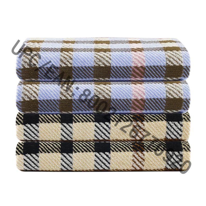 JMD TEXTILE Kylpypyyhesarja, 4 kpl brittiläistä tyylikäs ruudullinen Jacquard-pyyhe, suuret kylpypyyhkeet, 100% puuvillaa, kylpypyyheallas kuntosalimatkahotellit, College-asuntolan huoneen varusteet, pyyhe ruskea pyyhe sininen