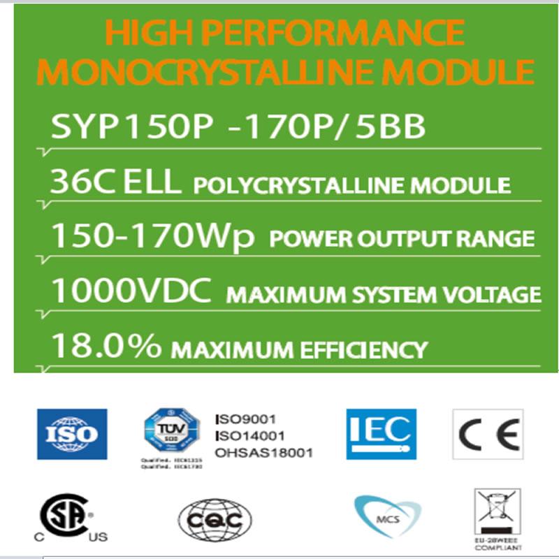 Korkean suorituskyvyn monokristallimoduuli SYP150P -170P / 5BB 36C ELL POLYCRYSTALLINE MODUULI
