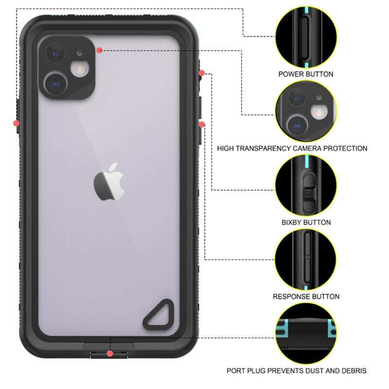 Uusi pc + tpe + lemmikkieläimien vedenpitävä pölytiivis lumitiivis puhelimen lisälaukku iPhone 11 (sininen) läpinäkyvä takakansi